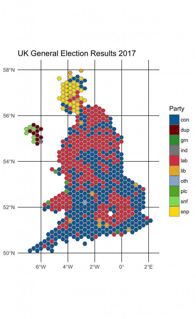 Map showing UK general election results in 2016, breaking down results by party
