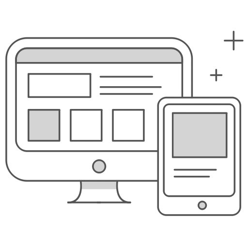 Icon - responsive wireframe displayed on tablet and desktop computer devices